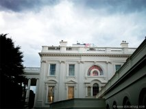 Storm clouds hang over the White House in Washington, DC, June 9, 2009.