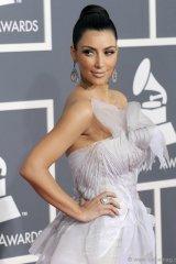Kim Kardashian, wearing Bochìc, at the 51st Annual Grammy Awards.