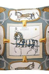 Grand Apparat Silk Scarf Hermes Pillow.