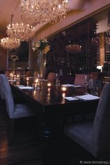 The Spoke Club's private cellar features a glass wall that gives members an optic sip of wines from around the world.