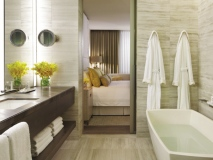 The forthcoming Four Seasons Hotel Toronto houses modern and stylish accommodations, which include these elegant yet comforting ensuites. (Photo courtesy of Four Seasons Hotels & Resorts)