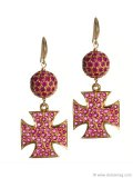 Rubies can be a girl's best friend too: You'll shine in these Maltese Cross Earrings inspired by the cathedrals in Malta. www.vivre.com Photography Courtesy Of D'Orazio & Associates