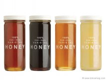 As its jar makes clear, Bee Raw Honey has nothing to hide. Each variety of these all-natural products is made using only one sweet ingredient: honey. This bold, gimmick-less labelling puts the product front and centre. As each flavour is derived from one source of flower, each glows with a distinct yellow or orange. www.beeraw.com