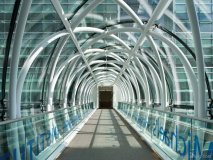 The glass and steel bridge connecting St. Michael's Hospital to the Li Ka Shing Knowledge Institute. Photo By Tom Arban.