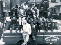 Cressy poses with a group from the Elliott Donnelley Youth Center on their first trip outside of Chicago in spring 1967