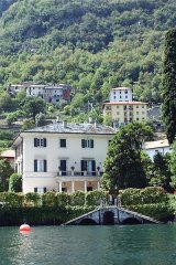 Lakeside view of George Clooney\'s villa Oleandra in Laglio, on Lake Como, northern Italy