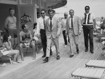 Frank Sinatra on the boardwalk, Miami, 1968, walking from The Fontainebleau hotel to the set of Lady in Cement