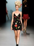 This textured floral mini-dress is one of the edgier numbers from Elisa Palomino's Eternal Spring '11 collection.