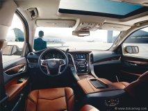 The interior styling of the 2015 Escalade has an elegant, architectural feel that matches the sleek, updated exterior