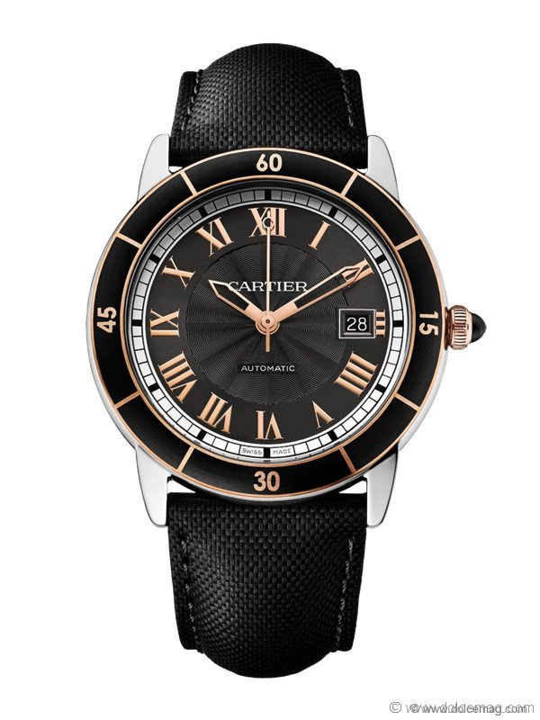 Steel, alligator skin and sapphire make Cartier's Ronde Croisière watch the crowned king of timepieces. The strap can be adorned with pink gold, white gold or diamonds | Berani Jewellers, www.berani.ca