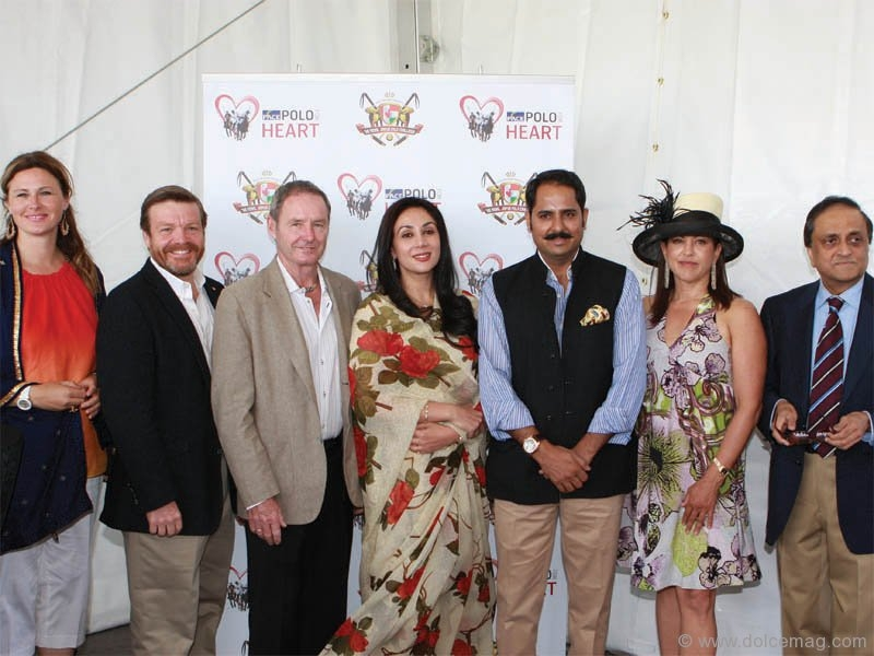 Ellen Reeves (executive director, Pace Polo for Heart), David Sculthorpe (CEO, Heart and Stroke Foundation of Ontario), Mike Egan, co-chair, Pace Polo for Heart, Princess Diya Kumari and the Maharaj of Jaipur (Narendra Singh) and Sheila Clark, co-chair, Pace Polo for Heart.