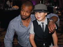 Isaiah Mustafa (The Old Spice Guy) and  Joey Mazzuco, SickKids ambassador.