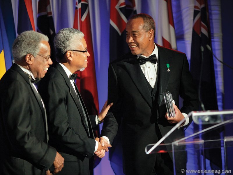 UWI chancellor Sir George Alleyne, UWI vice chancellor, professor E. Nigel Harris, and Luminary Award recipient Michael Lee-Chin.