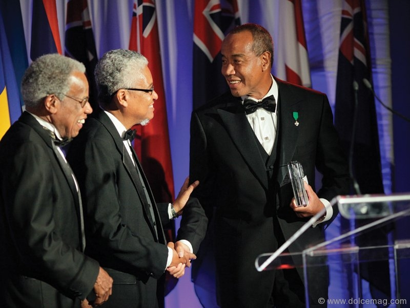 UWI chancellor Sir George Alleyne, UWI vice chancellor, professor E. Nigel Harris, and Luminary Award recipient Michael Lee-Chin.