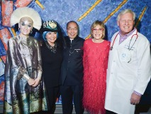 Katherine Newman, co-host of Night of Distortion; Emmanuelle Gattuso, honorary chair; Dr. Tak Mak of the Princess Margaret Cancer Centre; Jane Corkin, owner of Corkin Gallery and co-host; and Paul Alofs, president and CEO of the Princess Margaret Cancer Foundation