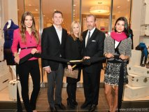 Frank Keller; Lisa Axelson, senior director of leasing at Cadillac Fairview, head designer of Ann Taylor; and Brian Lynch, brand president of Ann Taylor Division at ANN INC. cut the ribbon