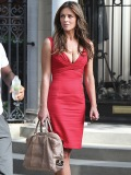 "64002, LOS ANGELES, CALIFORNIA - Wednesday July 13 2011. Liz Hurley in a figure hugging red dress working alongside Chace Crawford on the set of ""Gossip Girl\"" in New York. Liz and Chace were shooting scenes on New York\'s swanky Fifth Avenue for the fifth season of The CW\'s \""Gossip Girl\"". It was British model Hurley\'s first day on set. Photograph: ©JGM, PacificCoastNews.com **FEE MUST BE AGREED PRIOR TO USAGE** **E-TABLET/IPAD & MOBILE PHONE APP PUBLISHING REQUIRES ADDITIONAL FEES** UK OFFICE:+44 131 557 7760/7761 US OFFICE:1 310 261 9676"