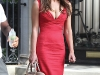 """64002, LOS ANGELES, CALIFORNIA - Wednesday July 13 2011. Liz Hurley in a figure hugging red dress working alongside Chace Crawford on the set of \""""Gossip Girl\"""" in New York. Liz and Chace were shooting scenes on New York\'s swanky Fifth Avenue for the fifth season of The CW\'s \""""Gossip Girl\"""". It was British model Hurley\'s first day on set. Photograph: ©JGM, PacificCoastNews.com **FEE MUST BE AGREED PRIOR TO USAGE** **E-TABLET/IPAD & MOBILE PHONE APP PUBLISHING REQUIRES ADDITIONAL FEES** UK OFFICE:+44 131 557 7760/7761 US OFFICE:1 310 261 9676"""