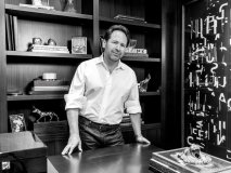 Avrich in his study, wearing a Boss by Hugo Boss shirt and denim from AG Jeans, courtesy of Harry Rosen