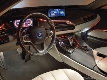 With a Tron-esque version of futuristic design, the BMW i8 looks like nothing else on the road. With its centre-stack canted slightly towards the driver and stylish ambient lighting, the i8's interior is one of BMW's best design efforts in years.
