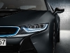 LED headlights give the i8 a striking glare.