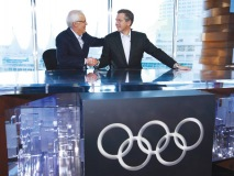 CTV's Brian Williams shakes hands with NBC's Brian Williams during a feature at the Vancouver Winter Olympics in 2010. (Photo Courtesy of Canada's Olympic Broadcast Media Consortium)