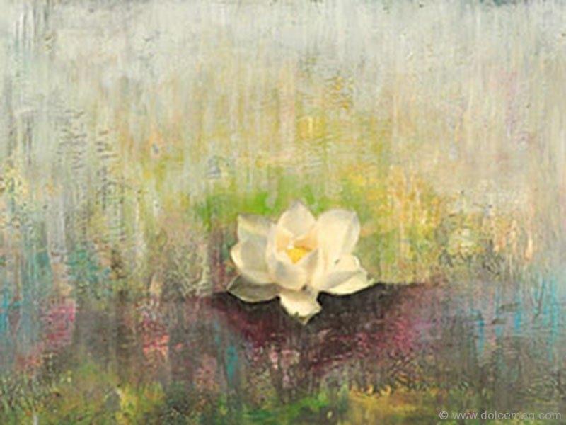 """Lot #14, """"White Lotus"""" by Joya Paul"""