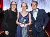 Presenter Susan Auch, 2019 Inductee Cindy Klassen, and former Olympian Adam van Koeverden