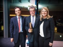 The inaugural Miner's Lamp Award Dinner took place on April 13, 2016, and honoured Paul Beeston, former president of the Toronto Blue Jays and longtime chair of the Centre for Addiction and Mental Health. From left to right: Dr. Benoit Mulsant, Paul Beeston and Carol Banducci