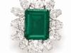 The Emerald and Diamond  Pendant Brooch:  By Bulgari, , the 23.46-carat rectangular-cut Colombian emerald jewel that was a gift from Richard Burton to Elizabeth Taylor on the occasion of their engagement in 1962, sold for $6,578,500 – setting both a new record price-per-carat for an emerald and a new record for any emerald jewel  at auction.