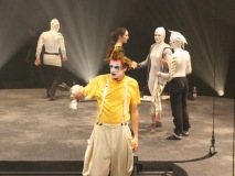 Performers clown around during dress rehearsal for Le Voyage Inspiré by Infiniti JX.