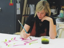 One brushstroke at a time, an artist leaves her mark on a soon-to-be Cirque du Soleil costume.