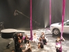 Cirque du Soleil artists gear up in studio for a live, online streaming performance featuring a flying Infiniti JX.