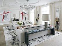 Coutas co-designed a few of the home's statement pieces, including the B&B Italia sofa and Baccarat chandelier