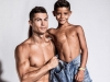 "Professional Portuguese footballer Cristiano Ronaldo currently plays forward for Spanish club Real Madrid and Portugal's national team | Photo by Michael Regan | Cristiano and Cristiano Junior spend quality father-son time modelling for the football star's CR7 clothing line and the highly-anticipated new CR7 JUNIOR collection. Cristiano's first-born is a chip off the old block. One could say he's inherited some great ""genes"". Cristiano Junior has a knack for modelling, with a familiar million-dollar smile, and a passion for football 
