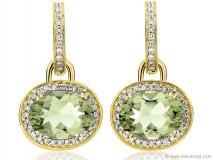 kiki classic green amethyst and diamond oval drop earrings