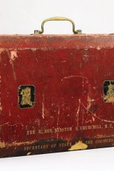 Winston Churchill's red Morocco leather dispatch box from his time as Secretary of State for the Colonies
