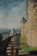 Sir Winston Spencer Churchill, Battlements  at Carcassonne, 1930s ©Churchill Heritage Ltd