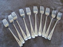 Worth buying a set of 10 George III Scottish silver Old English pattern table forks, maker's mark LB, Edinburgh, 1805, engraved with the initial 'R'. 1805