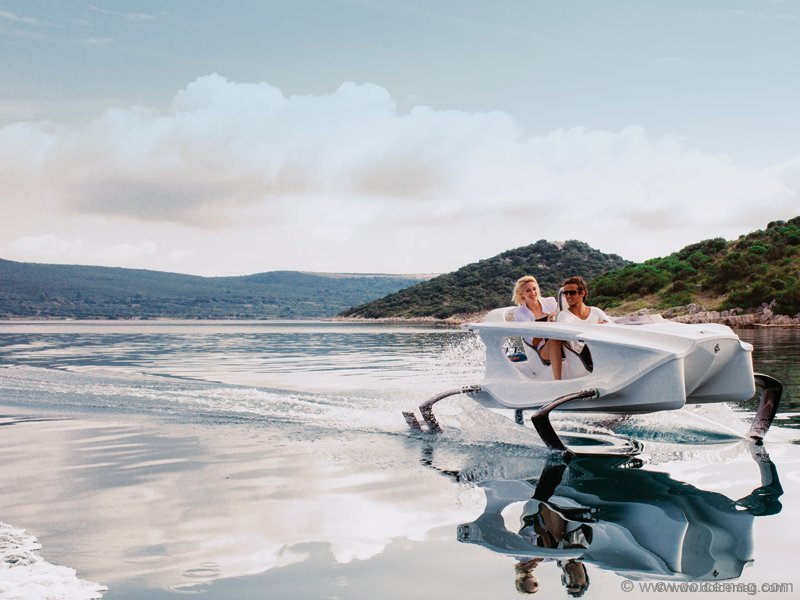 """An eco-friendly hydrofoil electric """"sports car"""" for the water just sped onto the automotive scene. Like a machine torn from a futuristic film, the Quadrofoil is an imaginative take on the personal watercraft. www.quadrofoil.com"""