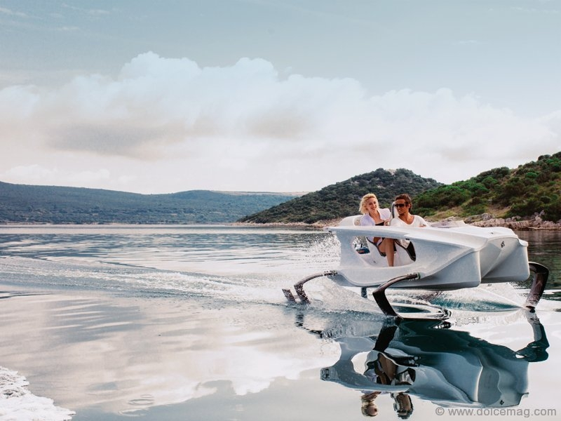 "An eco-friendly hydrofoil electric ""sports car"" for the water just sped onto the automotive scene. Like a machine torn from a futuristic film, the Quadrofoil is an imaginative take on the personal watercraft. www.quadrofoil.com"