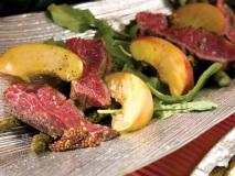Grilled Beef Bavet Asparagus Peach Arugula