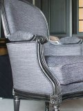 Pullman armchair upholstered in grey and silver fabric