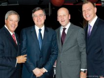 Jacques Ménard, president of BMO; Lucien Bouchard; Michael Fortier and Conrad Sauvé, secretary-general and chief executive officer of Canadian Red Cross.