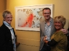 Gina Chiarella (Mercer), Dr. Bary O'Shea (Toronto Western Hospital, Rheumatology), and Vicki Lapp (RN Toronto Western Hospital, Rheumatology) congregate around canvases bursting with creativity.
