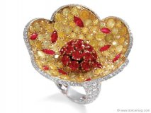 An intricate commingling of some of the finest coloured gems on the market, De Grisogono stretches the boundaries of his creativity with this life-like flower ring, with flecks of pollen scattered on its petals. www.degrisogono.com