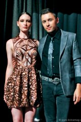 Lucian Matis with model wearing a design of his for the Fashion as Art: Exposed! fundraiser