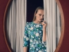 Cooler blue and green tones highlight the dresses ultra-flirty florals / Dress, Michael Kors Collection; Jewellery, Swarovski
