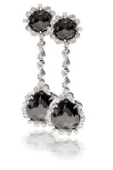 Standing tall and dignified, these white gold earrings with four rose-cut black diamonds add ear-catching glamour for a night on the town.