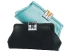 Bedazzled Beauties: These onyx and turquoise satin clutches – equipped with gorgeous crystal detailing – keep its carriers ready to make memories with enough room for a camera, smart phone, and other necessities.